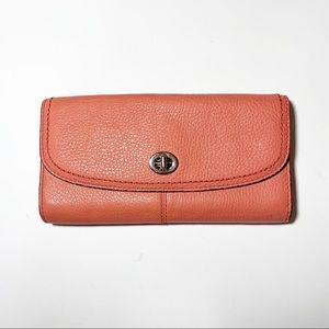 Coach Tearose Pink Pebbled Leather Clutch Wallet